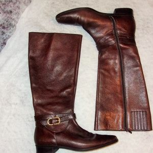 Talbots Brown Leather Boots Size 7B With Buckle
